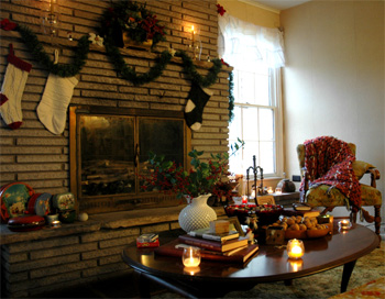 Closeup of Fireflys Fireplace Sitting Area