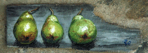 Three Pears Laying Down an Oil Painting by J L Fleckenstein