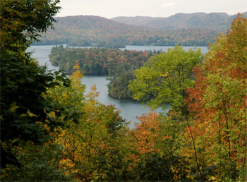View of Blue Mountain Lake from a deck at the Adirondack Museum