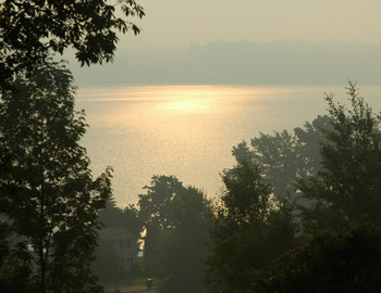 A misty morning lake on the drive to Clayton New York
