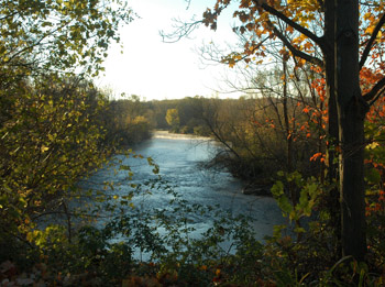 Beautiful autumn view of Fireflys River at the Farm