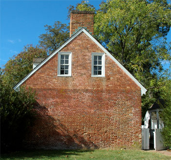 A beautiful red brick building in Colonial Williamsburg