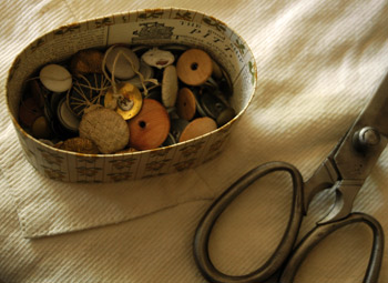 Buttons and Scissors in a shop in Colonial Williamsburg