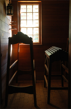 An interior view of a building in Colonial Williamsburg