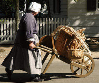 A peddler woman in Colonial Williamsburg