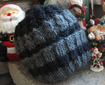 A hand knit hat Firefly made as a gift this Christmas