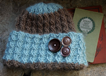Fireflys hand knit Baby Cable Switchback Hat