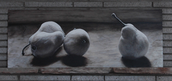Pears in Monochrome an Oil Painting by J L Fleckenstein