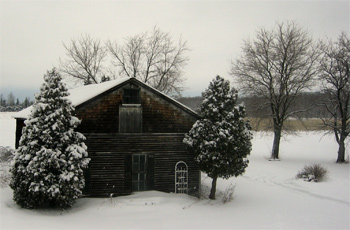 Fireflys barn with a fresh coat of snow this winter