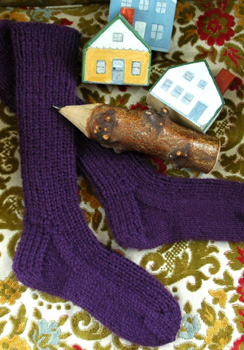 Fireflys hand knit Cozy Toes socks are eleven inches tall