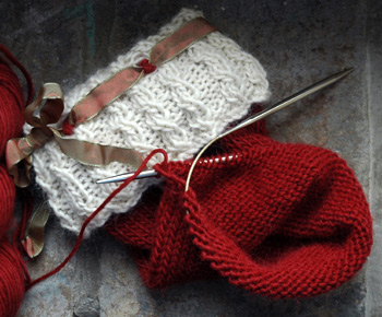 A hand knit Christmas Stocking design in the works by firefly