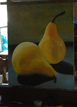 Two Bosc Pears oil painting underway