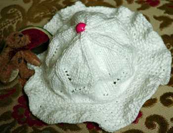 Emily Knitted Hat for a Baby Girl Top View