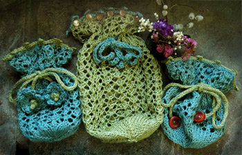 Three new hand knit bags by firefly