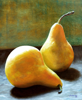 Bosc Pears from Local Farm Market original oil painting by J L Fleckenstein