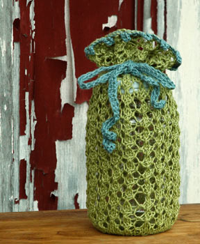 Hand knit quart size Jammie gift bag designed by firefly