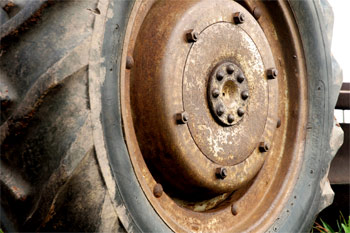 Close up shot of the wheel of Dave's tractor