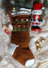 Ginger Snap a hand knit Christmas Stocking designed by firefly