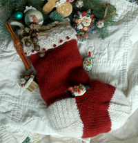 Jingle Bells a hand knit Christmas Stocking pattern designed by firefly