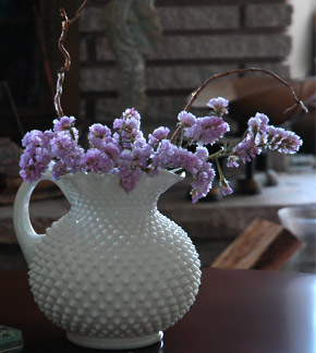 Pretty White Vase with Dried Flowers